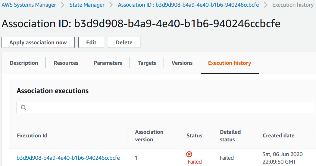 failed execution of AWS Inventory association