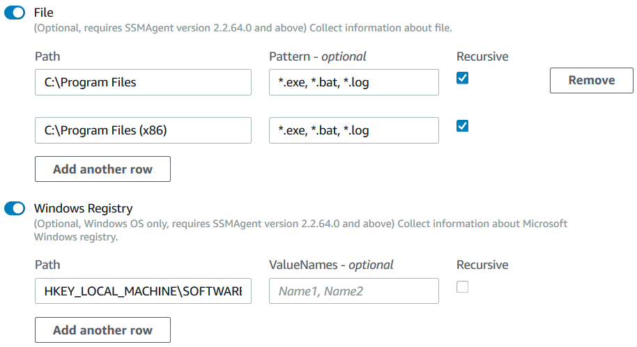 AWS Inventory parameters File and Windows Registry