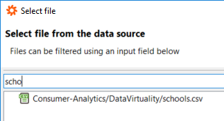 select file from Amazon S3 data source