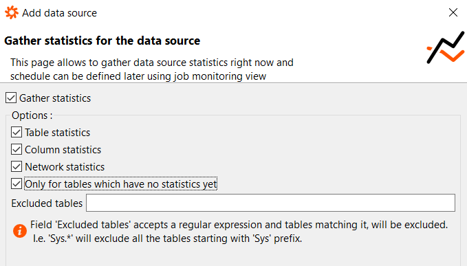 gather statistics for the SQL Server data source