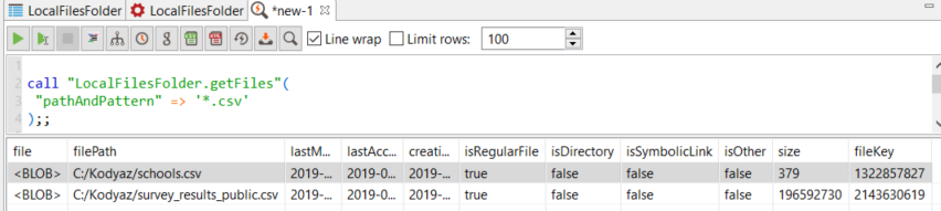 getFiles to list data files on File Connector data source