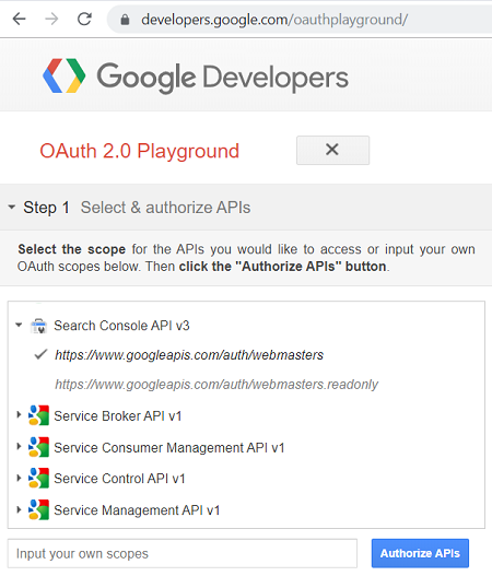 Google Search Console API at OAuth 2.0 Playground