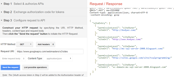 Search Console API sites list web method