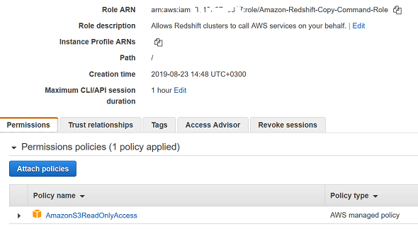 IAM role for Amazon Redshift SQL COPY command
