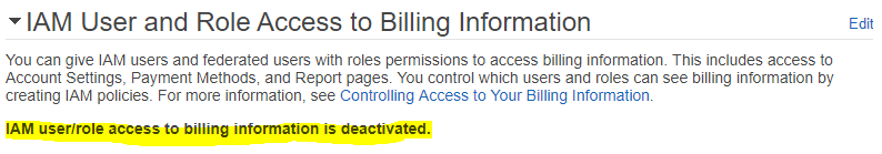 IAM User and Role Access to Billing Information