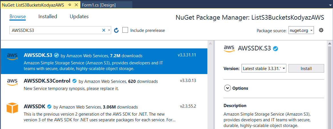 install AWSSDK.S3 NuGet package in Visual Studio AWS project