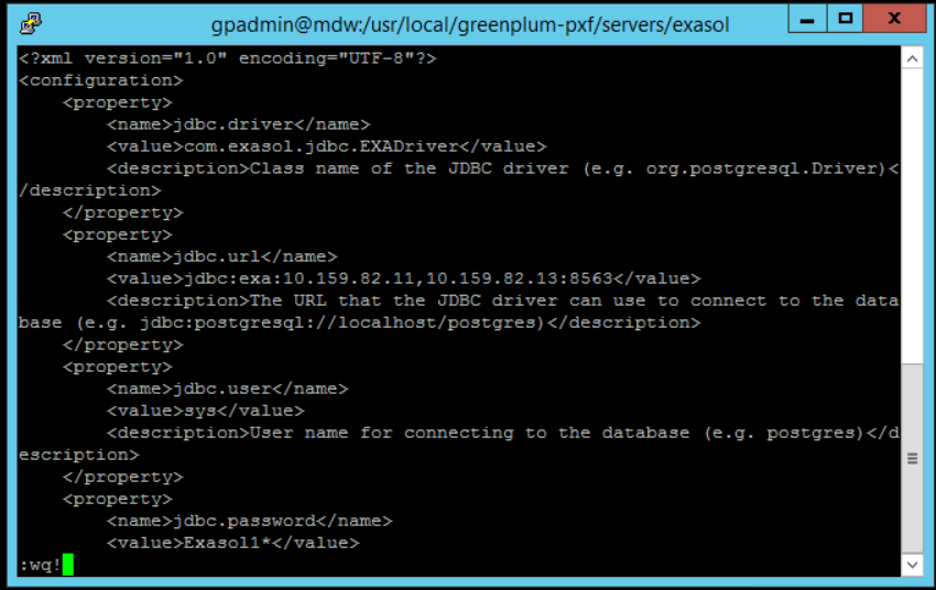 jdbc-site configuration file to connect Exasol database from Greenplum using PXF