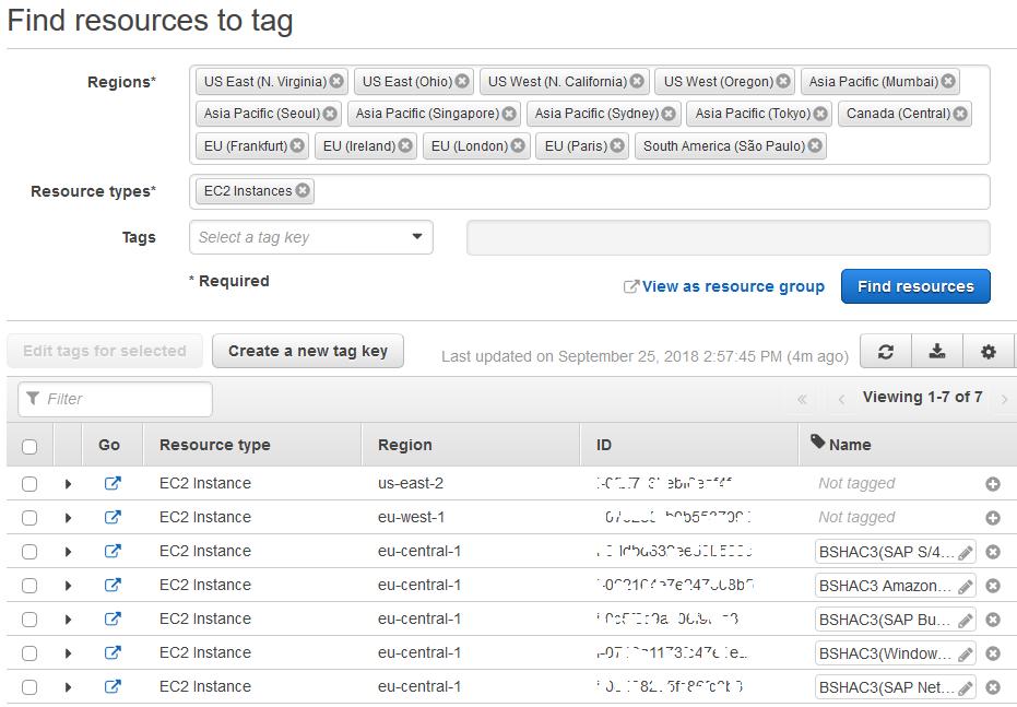 AWS Tag Editor Tool listing all EC2 instances