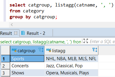 SQL aggregation function ListAgg with Group By clause on Redshift database