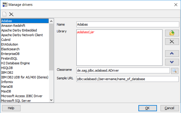 Manage Drivers on SQL Workbench