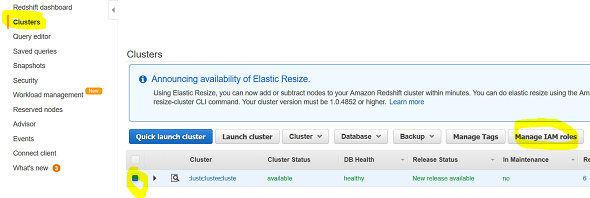 manage IAM roles for Amazon Redshift cluster