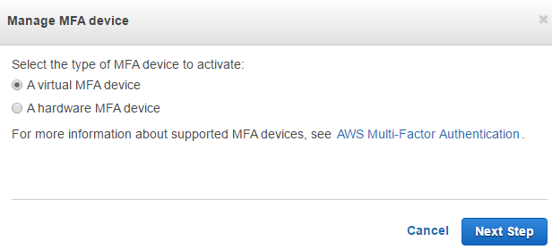 manage MFA device for AWS user security credentials