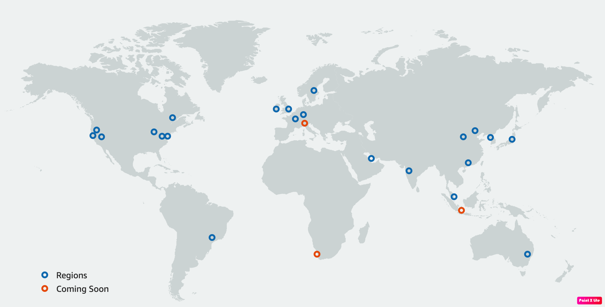 most recent locations list of AWS Regions shown on the World map