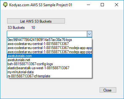 Amazon S3 Simple Storage Service call to list S3 buckets