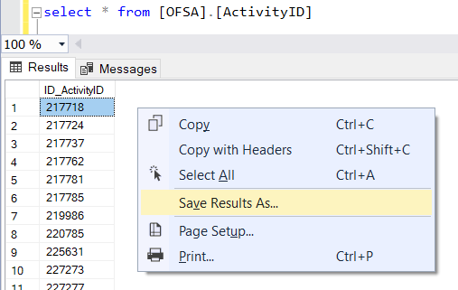export sql query result data as csv file