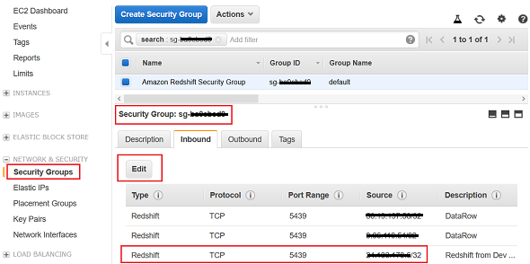 Security Group settings for Amazon Redshift
