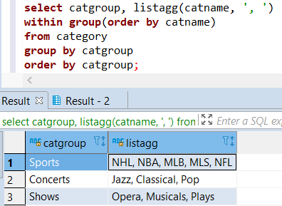 Redshift ListAgg aggregate function with Group By and Order By SQL