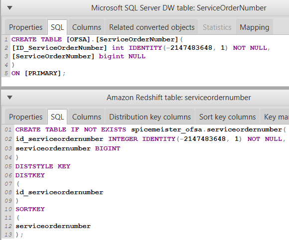 AWS Schema Conversion Tool Create Table DDL SQL scripts