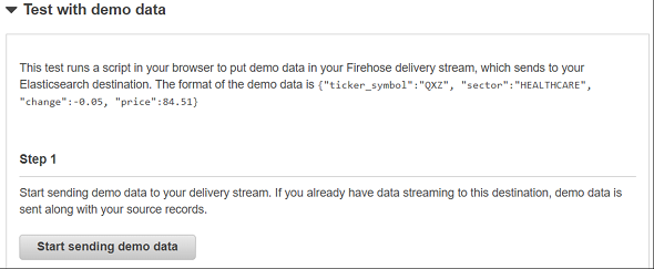 test Kinesis Firehose delivery stream with demo data