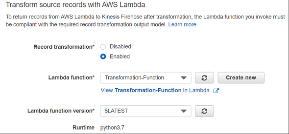 record transformation using AWS Lambda function for Amazon Kinesis Firehose delivery stream