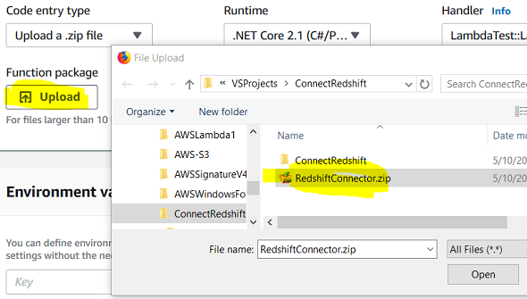 upload C# project package file for AWS Lambda function code