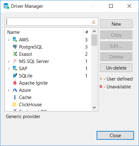 existing database drivers on DBeaver