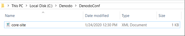 Denodo configuration file core-site.xml for AWS S3 access
