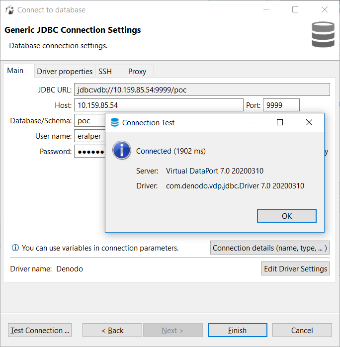 JDBC connection from DBeaver to Denodo database
