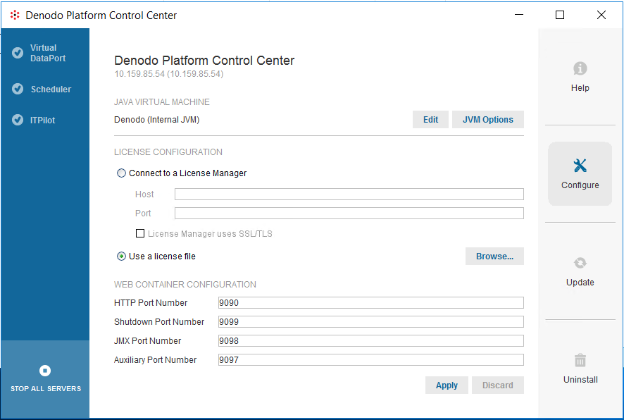 Denodo Platform Control Center Configure view to extend license period