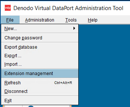 Extension management in Virtual DataPort Administration Tool