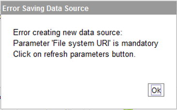 Parameter 'File system URI' is mandatory