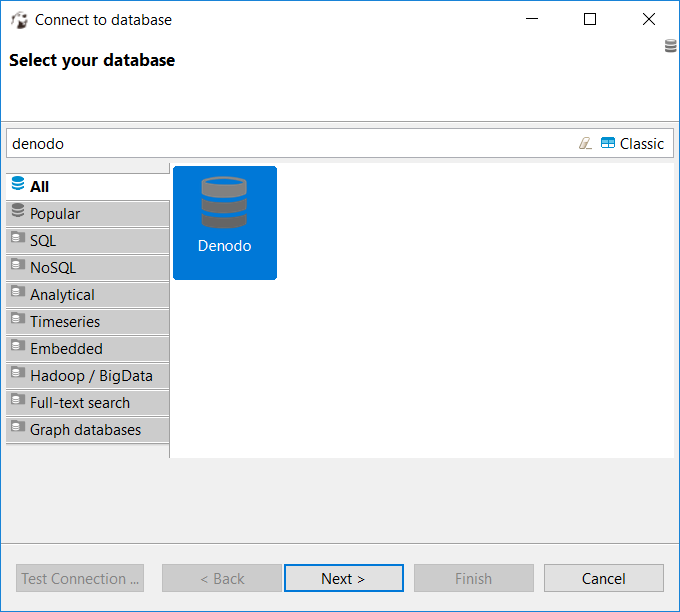 create new database connection to Denodo from DBeaver
