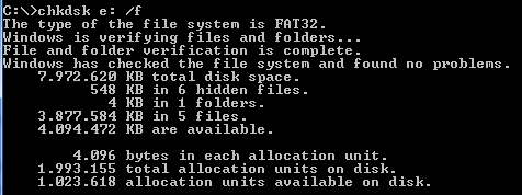 checkdisk command shows files are on USB drive but are not visible