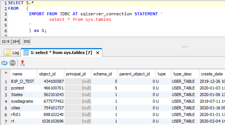 SQL query on Exasol database connected to SQL Server
