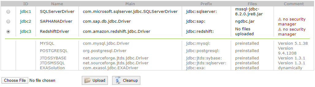 Exasol - Redshift connection using JDBC driver