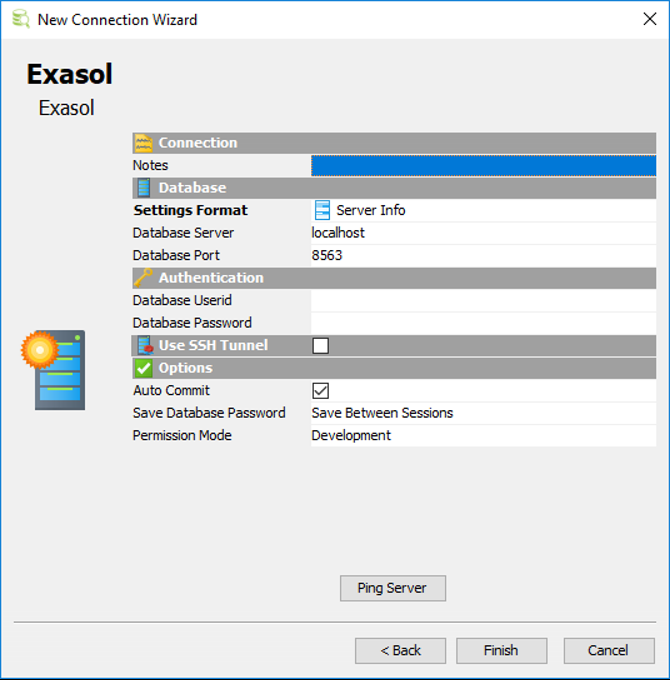 Exasol database connection parameters template