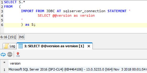 execute SQL query on remote SQL Server using Exasol database