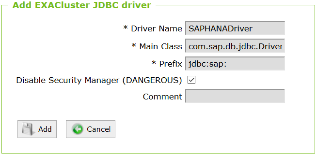 Exasol SAP HANA JDBC Driver parameters
