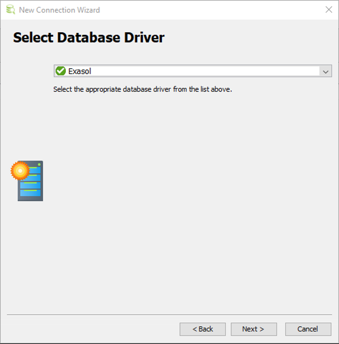 select database driver for Exasol Data Warehouse connection