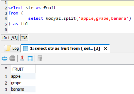SQL Select from UDF Script on Exasol database