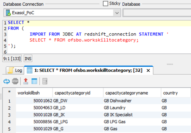 SQL Select query on Exasol reading data from Amazon Redshift