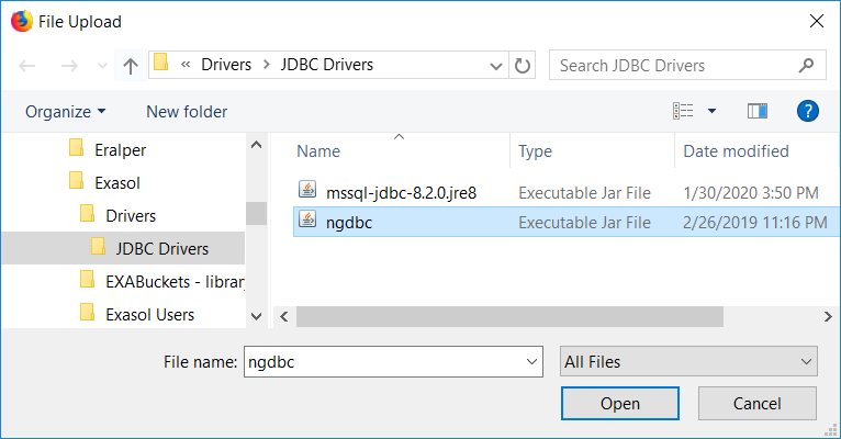choose SAP HANA JDBC driver ngdbc.jar file