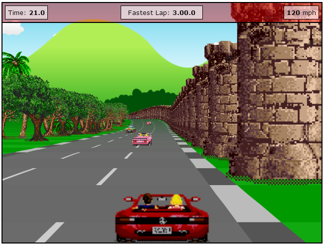 play Outrun online arcade game developed in HTML5 and Javascript