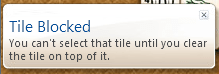 Windows 7 Mahjong Titans game tile blocked warning messages