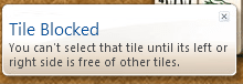 Windows 7 Mahjong Titans game tile blocked warning