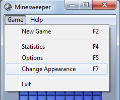 change appearance of Windows Minesweeper game