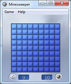 default Windows 7 Minesweeper game style