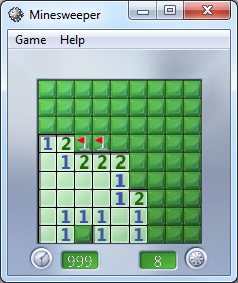 windows 7 Minesweeper game tips with two tiles rule