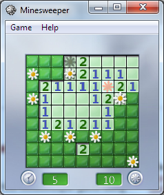 Windows Minesweeper game for children with flowers garden