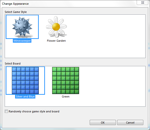 Windows Minesweeper game style change screen